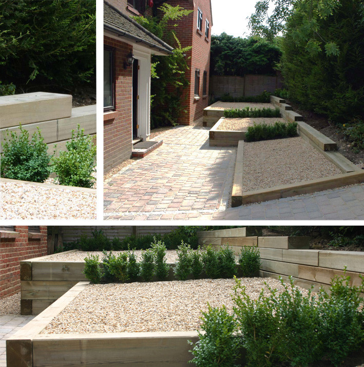 increasing the area in front of the main door creates a feeling of space in what was a very small area - Garden Design Using Sleepers